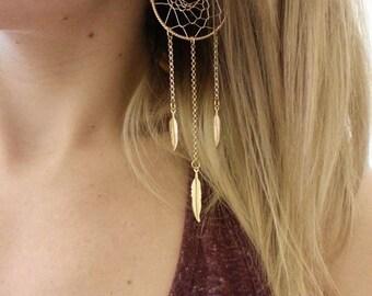 Handmade Gold Dream Catcher Earrings