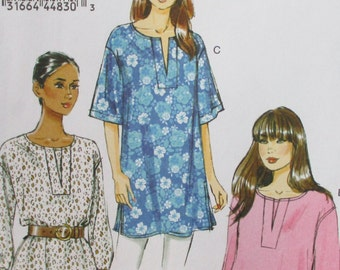 Vogue pattern, new, misses pullover tunic, pullover blouse, long sleeve, short sleeve, xsmall to med