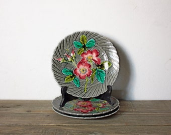 RARE Vintage Majolica Dessert Plates with Poppies, Decorative, Flowers, Anemone, Gray, Red, Green, Pink, 3 Available, PRICED INDIVIDUALLY