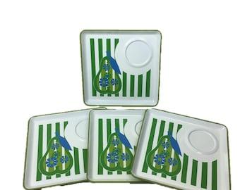 Vintage Pear Plates | 60s Green Plate Set | 70s Stripe Plates | Vintage Trays | 1960s Tray Plates | 1970s Pear Trays | Kitsch Set of 4