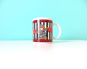 1980's Prisoner's of Love Coffee Mug featuring Two Cute Teddy Bears and a Ball and Chain . Love is Prison Love is Jail