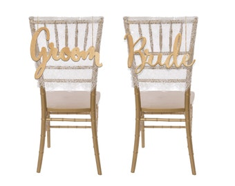 Wedding Chair Sign, Mr. and Mrs. Wedding Chair Sign, Rustic Wedding Chair Sign, Wood Chair Sign, Chair Sign, --SIGN-WOOD-BRIDEGROOMCUTOUT