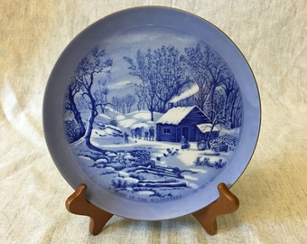 """Vintage Sanyei Currier and Ives Plate, """"A Home in the Wilderness"""""""