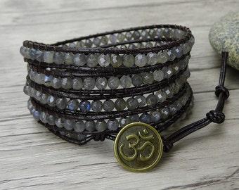 5 Wraps Bracelet labradorite wrap bracelet Leather Wrap Bracelet Moonstone wrap bracelet bead wrap Bracelet labradorite braceletSL-0281