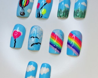 colourful blue sky rainbow hot air balloon kawaii false nails