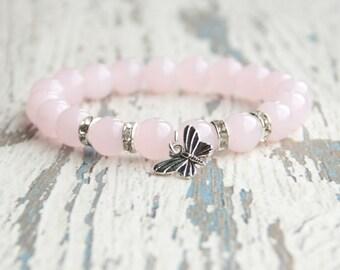 Butterfly bracelet Pink bracelet Beaded bracelet Girls bracelet Gift idea Girlfriend Summer jewelry Rose quartz Love Bracelet gemstone Women