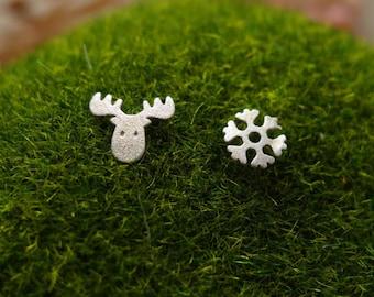 cute moose&snow flake 925 sterling silver earrings, deer stud, animal earrings,chrismas gift,handmade, everyday, birthday, bridesmaid-KE1009