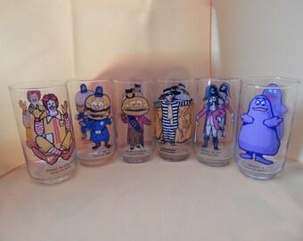 Vintage Set of Six McDonald's Glasses