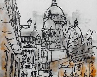 """Modern painting  """"Paris Sacré Coeur"""""""
