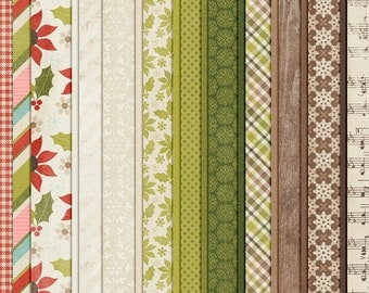 December Joys : Holly & Ivy - Christmas Digital Papers - 12 x 12 - Scrapbooking Pack - Perfect for the Holidays!