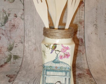 Utensil Pot,  Decorative Glass Jar, Utensil Pot In Cream Birdcage decoupage, Shabby Chic, Vintage Rustic Chic, Spoon Jar