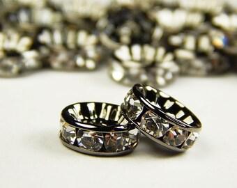 10 Pcs - 10mm Czech Crystal Rhinestone Rondelle Beads - Gunmetal - Spacer Beads - Czech Beads - Jewelry Supplies