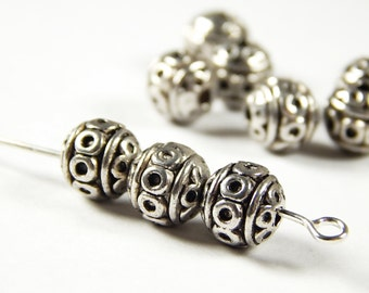 10 Pcs - 8mm Tibetan Silver Spacer Beads - Metal Spacer Beads - Jewelry Supplies