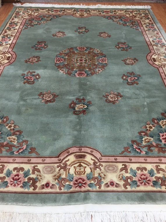 "8'4"" x 11'2"" Chinese Aubusson Oriental Rug - Full Pile - Hand Made - 100% Wool"