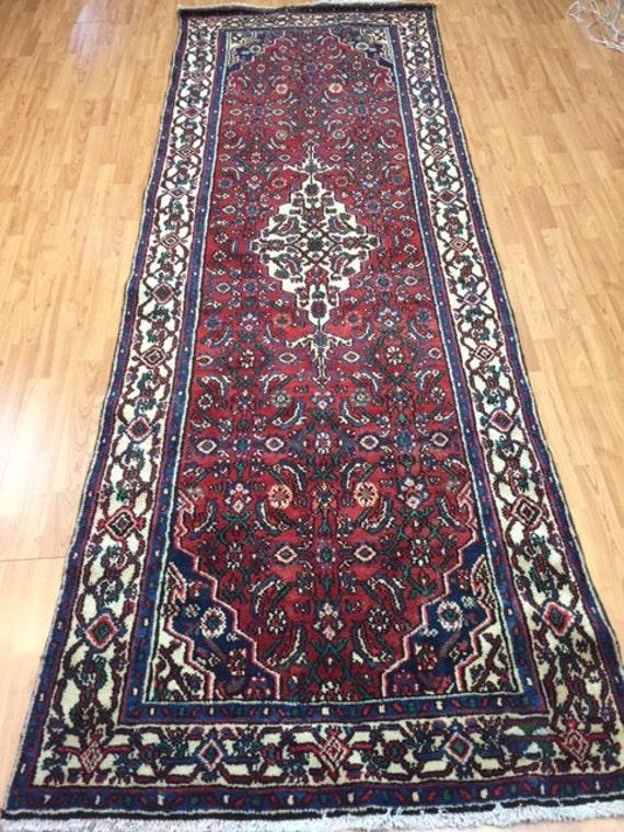 "3'7"" x 10'2"" Persian Hamadan Floor Runner Oriental Rug - Hand Made - 100% Wool - Vintage - 1970s"