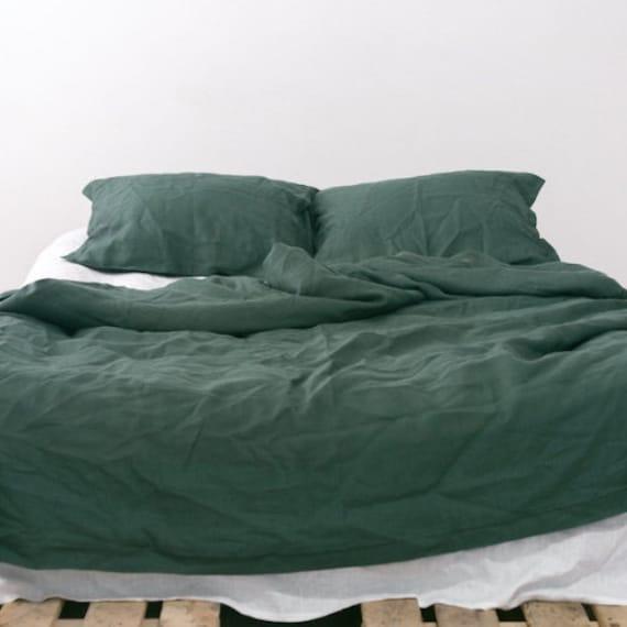 Emerald Natural Linen Bedding Set Dark Green Duvet By