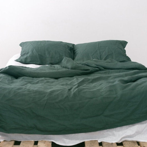 EMERALD Natural Linen Bedding Set dark green Duvet by