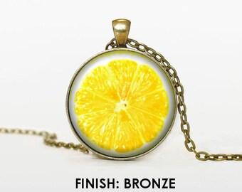 lemon Necklace, lemon fruit Jewelry, gift for women handmade, silver bronze black, lemon Pendant chain jewelley 028