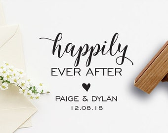 Happily Ever After Wedding Stamp, Custom Wedding Stamp, Rubber Stamp, Personalized Rubber Stamp