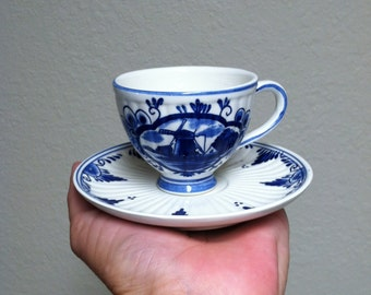 Vintage Delft Cup and Saucer - Cobalt Blue by Elesva Holland (1960s)