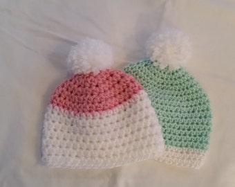 Infant Girl or Boy Hat, Crocheted Newborn Beanie Hat, size 0-3 months, Newborn Hat, Baby Shower Gift