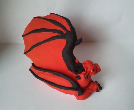 Red Dragon Sculpture Clay Dragon Figurine By HannArtSculpture