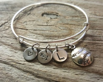 Baseball Softball Bangle - Sports Bangle - Athlete Bangle - Sports Player - Athlete Gift - Bracelet - Sport Number - Heart/#/Initial