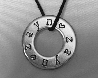 Zayn Necklace Hand Stamped Washer Jewelry Custom Hand Stamped