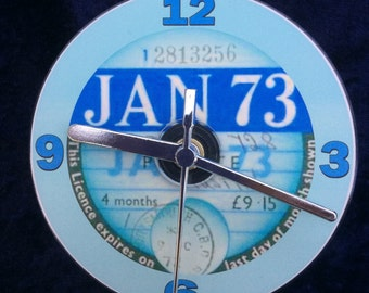 Vintage 1973 TAX DISC CD Clock (Can be Personalised)