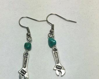 Handmade Genuine Turquoise Stone Industrial Mini Silver Wrench Tool Dangle Earrings Jewelry