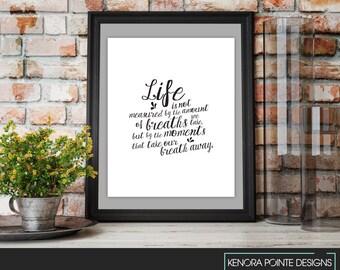Life is.. Wall Art Print | Printable Art | Inspirational Quote | Typography | Digital Prints | Black & White Art | Digital Download