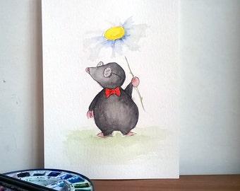 Cute Mole Original Watercolour Painting, Mole Illustration, Woodland Creature art, Whimsical Mole Painting, Nursery Room Art,