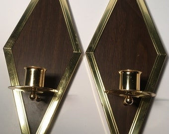 Diamond Wall Candle Holders Wood and Gold
