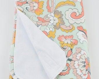 Minky Baby Blanket - Minky Blanket - Stroller Blanket - Baby Blanket - Baby Shower Gift - Baby Gift - Floral Baby Blanket -Baby Blanket