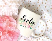 Custom Name Watercolor Floral Bouquet Sublimation Mug, 2 Sided
