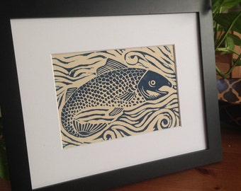 Salmon linocut print