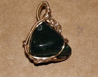 Bloodstone Wire Wrapped Pendant