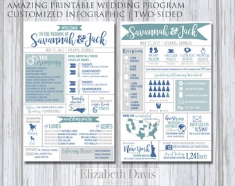 Infographic Wedding Program printable | modern, fun, entertaining for guests | states, travel, destination, fun facts, drinks, hashtag, pets