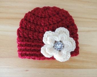 Red Baby Girl Hat Red Flower Crochet Baby Hat Red and White Flower Baby Beanie Hat Flower Baby Photo Prop Cream and Red Flower Baby Hat