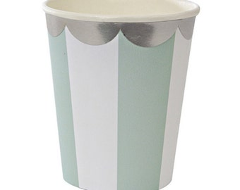 Paper Cups | Meri Meri | Mint and White Striped | Disposable