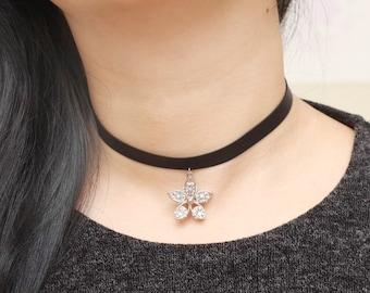 Cubic Flower Choker, Petal Choker, Cubic Choker, Big Charm Choker, Womens Jewelry, Choker for Women, Gift for friends