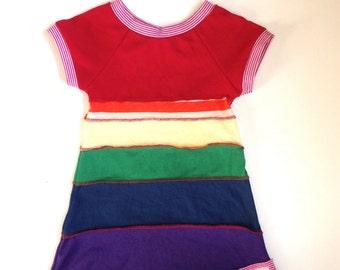 Girls rainbow dress, rainbow dress, upcycled girls dress, upcycled dress, size 6-12 months