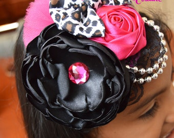 Yazzo Princess Headband, Satin Flower, Couture headband, Animal Print Headband, Black and Pink Headband, Cheetah Headband,Over the Top
