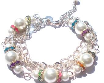 Pearl Bracelet, Sterling Silver Bracelet, Multi strand Bracelet, Beaded Bracelet, Chain Bracelet, Link Bracelet, Chunky Bracelet