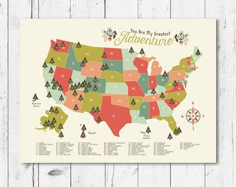 "National Park Map Nursery, you are my greatest adventure 4 printable files (JPEG) download and print any size between 5""x7"" and 16""x20"""