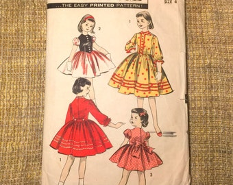 1950s Advance 8142 childrens' girl's dress sewing pattern Size 4 |Cut Complete Original| Festive Tyrolean Dress