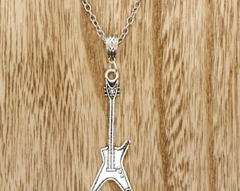 Electric Rock Guitar Pendant on Silver Tone Chain Necklace