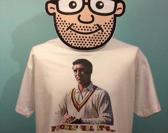 Half Man Half Biscuit Funny Music T-Shirt (F**kin' 'Ell It's Fred Titmus) - White Shirt