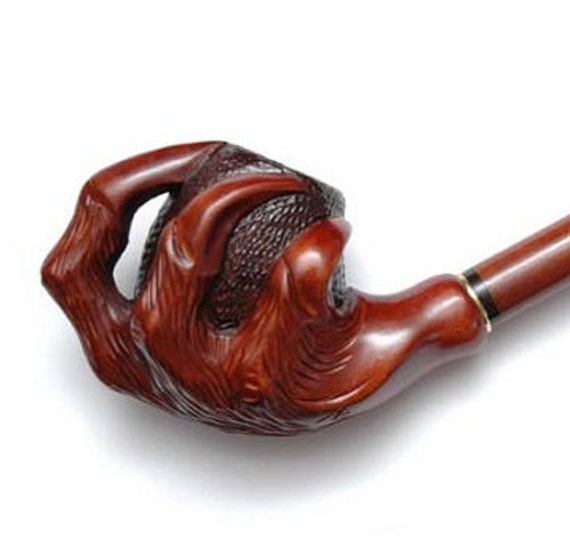 Wooden smoking pipe handmade wood carved tobacco