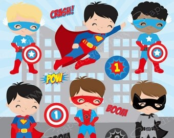 Superhero boys clipart, Hero clipart, Superhero vector clipart, boy Superhero, superhero kids, digital clip art, Commercial License